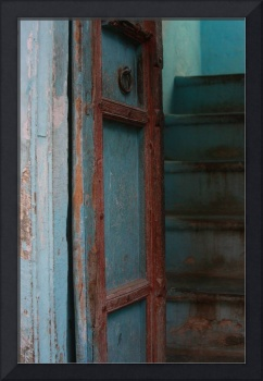 Indian light blue Wooden Door and stairs