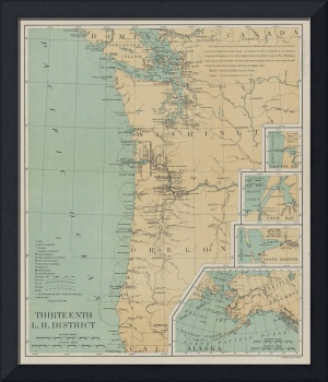 Vintage Washington & Oregon Lighthouse Map (1898)
