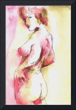 Pink and Gold Female Nude Study