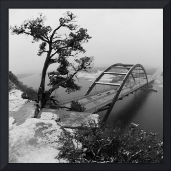 Austin 360 Tree & Bridge with snow