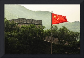 Great Wall and Flag of China