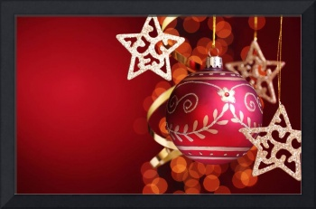 Red Christmas Ornament With Gold Stars
