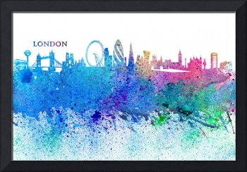 London Skyline Silhouette Impressionistic Splash