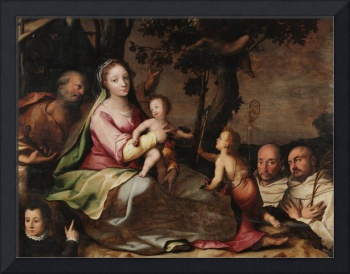 Dirk Herndricksz~The Holy Family with Two Carthusi
