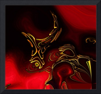 Zizzago Art Abstract Red Gold Flame 2