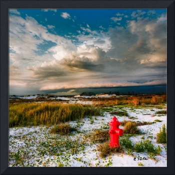 Red Fire Hydrant Desert Landscape Cumulus Clouds
