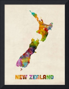 New Zealand, Watercolor Map