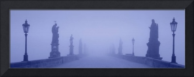 Charles Bridge in Fog Prague Czech Republic