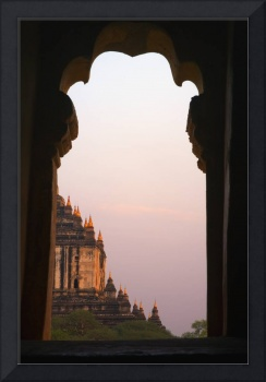 Temple At Sunset Seen From Temple Window In Myanma