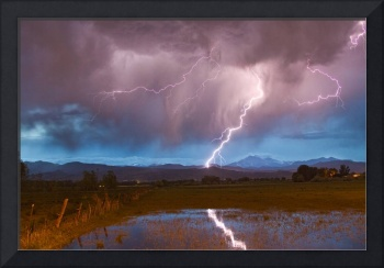 Lightning Striking Longs Peak Foothills 2