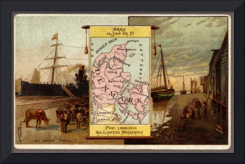Denmark 1889 Map with Illustration