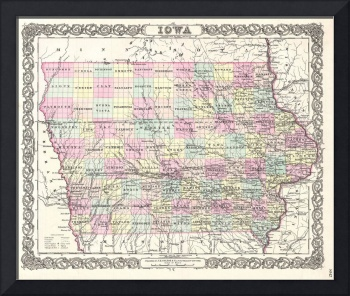 Vintage Map of Iowa (1855)
