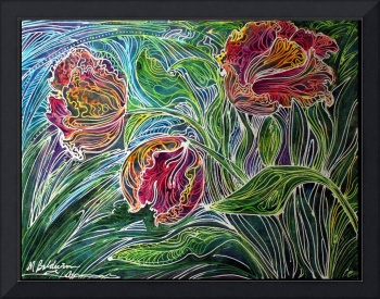 PARROT TULIPS BATIK ABSTRACT