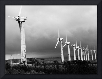Broken wind turbines, South Point, HI