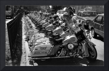 Police Bikes lined up at a Gulf War I protest.