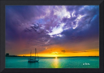 Red Sky Night Sailors Delight Sunset Aqua Sea Art