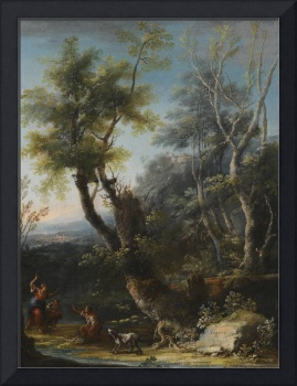 Michele Pagano WOODED LANDSCAPE WITH FIGURES AND A