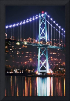 Vancouver's Lions Gate bridge at night photograph