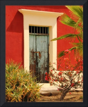 Old Green Door and Red Adobe, Baja Mexico