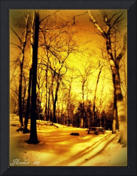 Golden Winter Campsite by J.Everhart framed