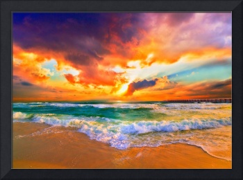 Red Orange Purple Sunset Green Sea Waves Art Print