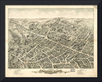 1877 Peabody, MA Birds Eye View Panoramic Map
