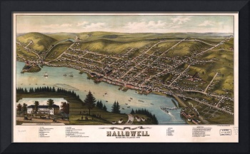 Bird's Eye View City of Hallowell Maine (1878)