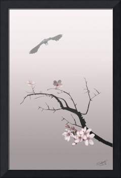 Cherry Blossoms and Raven