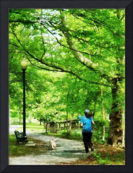 Girl Jogging with Dog
