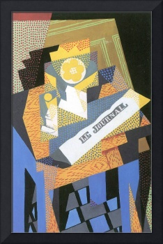 Newspapers and fruit bowl by Juan Gris
