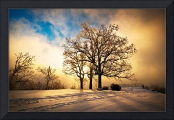 Fire and Ice - Winter Sunset Landscape