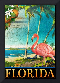 florida flamingo beach poster