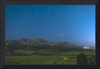 Boulder Colorado Foothills Nighttime Panorama