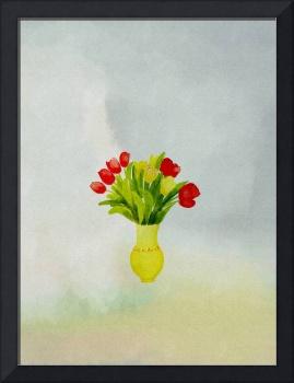 spring flowers with yellow vase