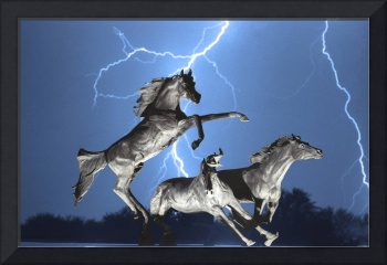 Lightning Bolts At Horse World BW Color Print