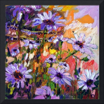African Daisies Flower Oil Painting