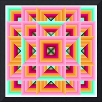 Quilt Geometric Pattern in Pink and Green