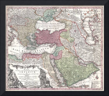 Map of Turkey, Persia and Arabia 1730 Seutter