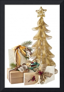 Golden Christmas tree and gifts