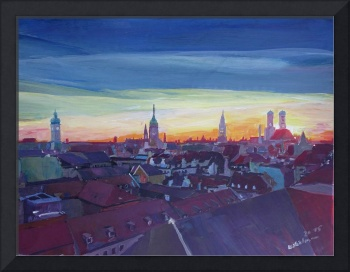 Munich Rooftop View At Sunset