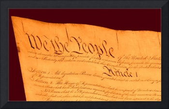 US Constitution Large Closeup Red Brown Backgrou