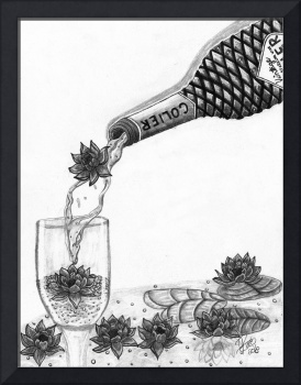 sparkling wine and water lilies
