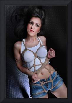 Big handcuffs and rope harness - Fine Art Bondage