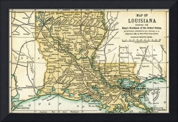 Louisiana Antique Map 1891