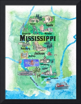 USA Mississippi State Travel Poster Map with Touri