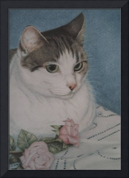 portrait of cat and rose