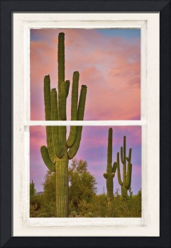 Southwest Desert Colorful Rustic Window Art View