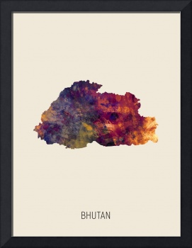 Bhutan Watercolor Map