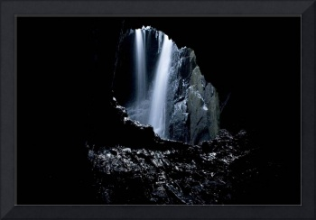 Waterall in a Welsh cave