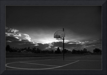 Basketball Court at Sunrise B&W
